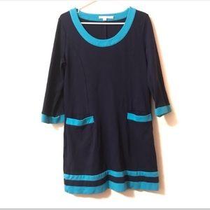 Womens Boden Tunic Dress Size 10 3/4 Sleeve Navy